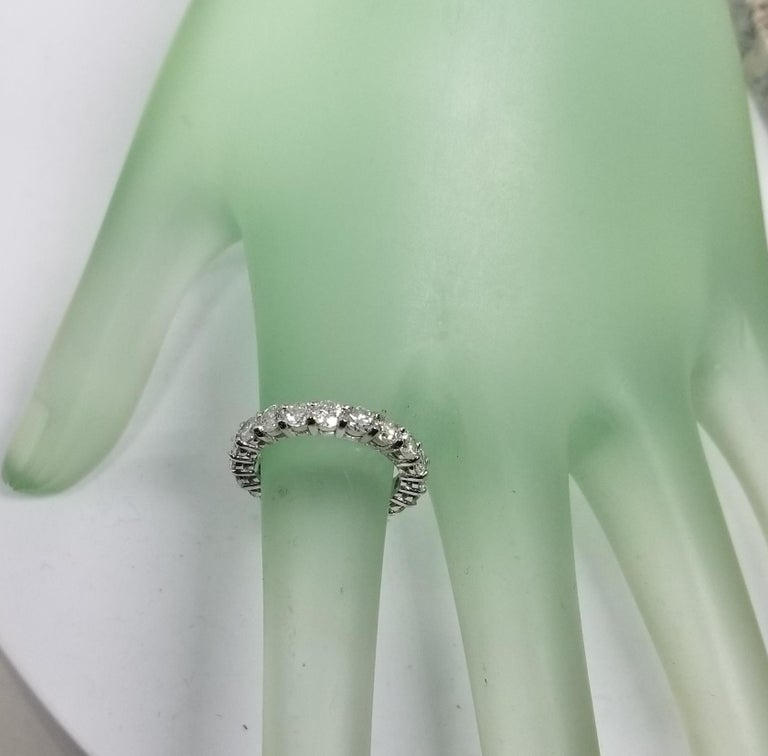 14 Karat White Gold Diamond 2.50 Carat Eternity Ring with Shared Prongs For Sale 1