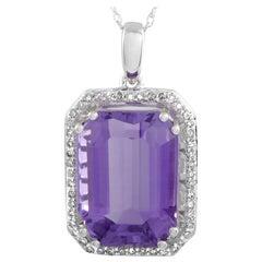 14 Karat White Gold Diamond and Amethyst Rectangle Cushion Pendant Necklace