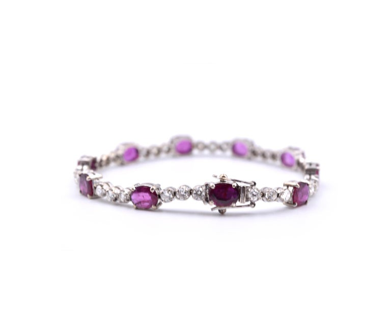 14 Karat White Gold Diamond and Ruby Bracelet In Excellent Condition For Sale In Scottsdale, AZ