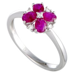 14 Karat White Gold Diamond and Ruby Flower Ring