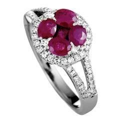 14 Karat White Gold Diamond and Ruby Round Ring