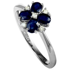 14 Karat White Gold Diamond and Sapphire Flower Ring