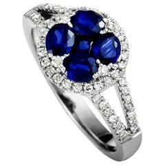 14 Karat White Gold Diamond and Sapphire Round Ring