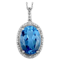 14 Karat White Gold Diamond and Topaz Oval Pendant Necklace