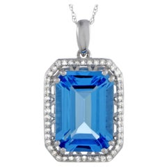 14 Karat White Gold Diamond and Topaz Rectangle Cushion Pendant Necklace