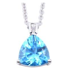 14 Karat White Gold Diamond and Trillion Cut Blue Topaz Necklace