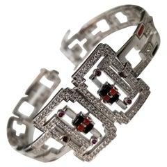 "14k white gold diamond ""Art Deco"" inspired bracelet with multi color stones"