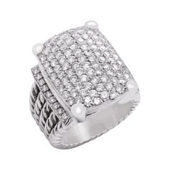 14k White Gold Diamond Cable Link Wide Band Large Unisex Ring
