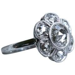 14 Karat White Gold Diamond Cluster Wedding Engagement Ring, 1.90 Carat
