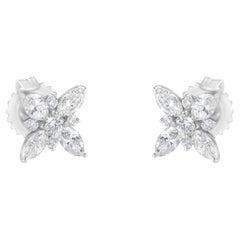 14K White Gold Diamond Flower Stud Earring