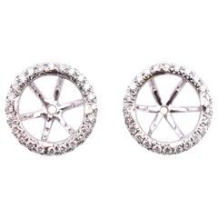 14 Karat White Gold Diamond Halo Earring Jackets