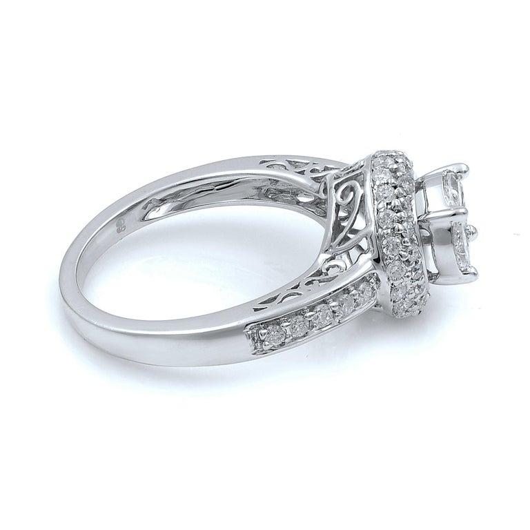 Modern 14 Karat White Gold Diamond Halo Engagement Ring 1.13 Carat For Sale