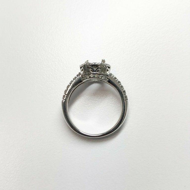 Round Cut 14 Karat White Gold Diamond Halo Ring For Sale