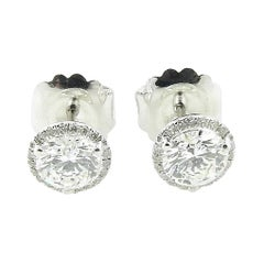 14k White Gold Diamond Halo Stud Earrings 2.10 Tcw