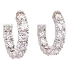14k White Gold Diamond Hoop Earrings 5 Carats
