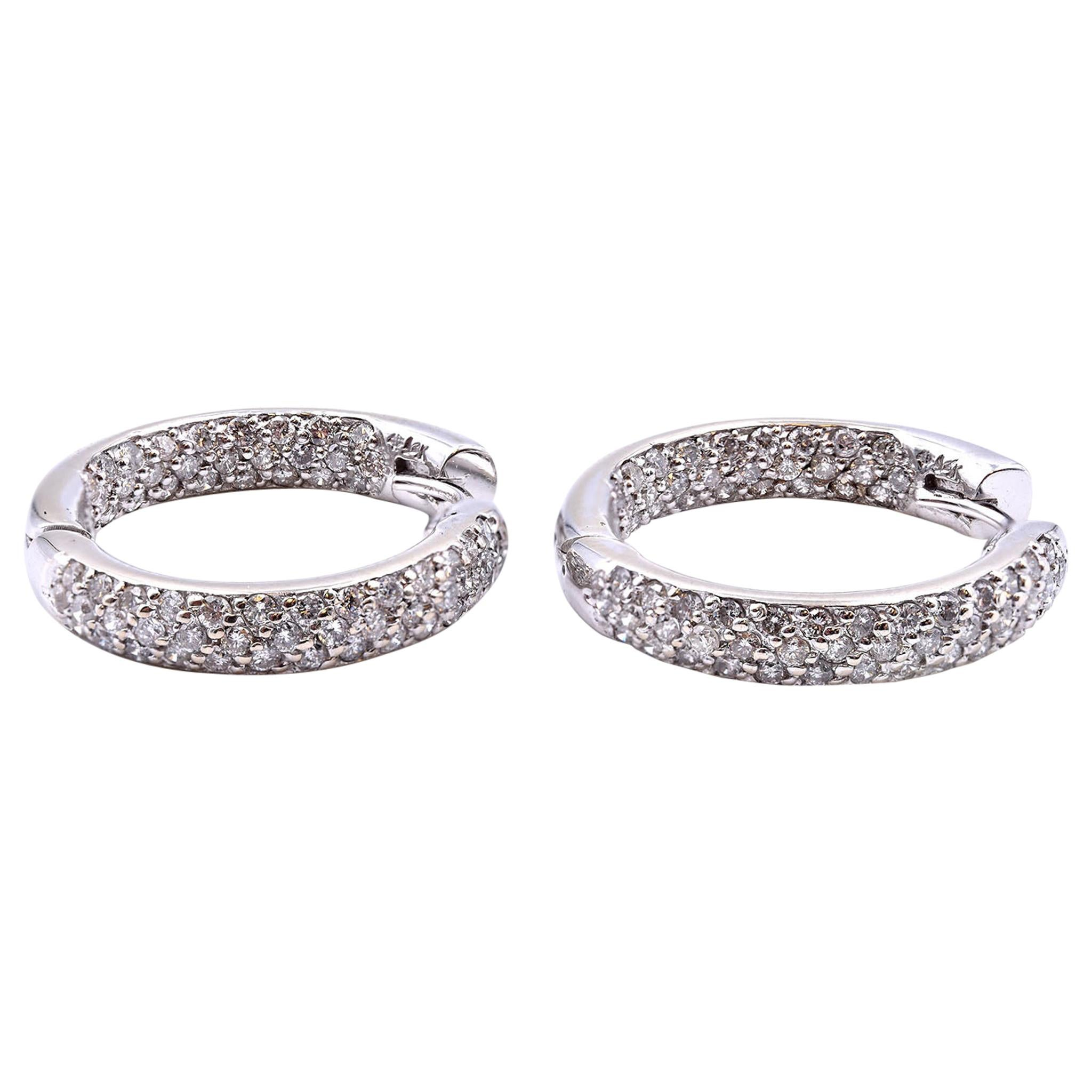 14 Karat White Gold Diamond Hoop Earrings