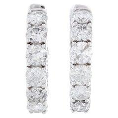 14 Karat White Gold Diamond Hoops 5.22 Carat