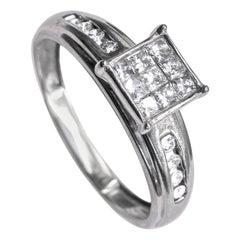 14 Karat White Gold and Diamond Ladies Ring