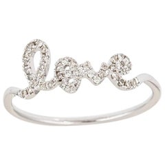 14k White Gold Diamond Love Script Ring