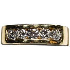 14 Karat White Gold Diamond Men's Wedding Band, 1.50 Total Carat Weight