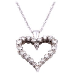 14 Karat White Gold Diamond Open Heart Necklace