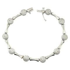 14K White Gold Diamond Pave Link Bracelet