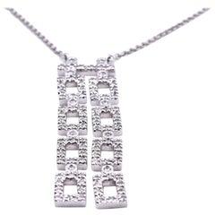14 Karat White Gold Diamond Square Drop Necklace