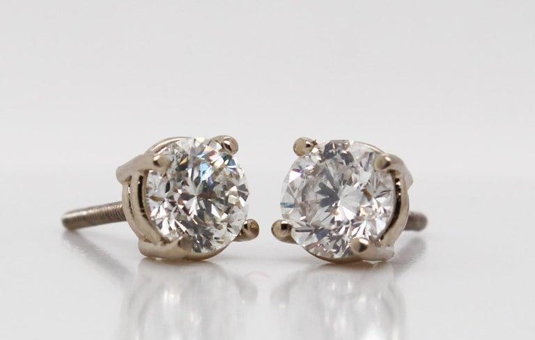 Modern 14 Karat White Gold Diamond Stud Earrings For Sale