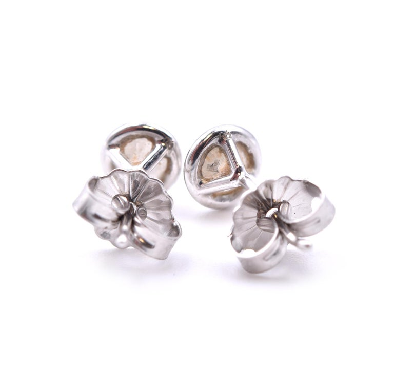 Round Cut 14 Karat White Gold Diamond Stud Earrings For Sale