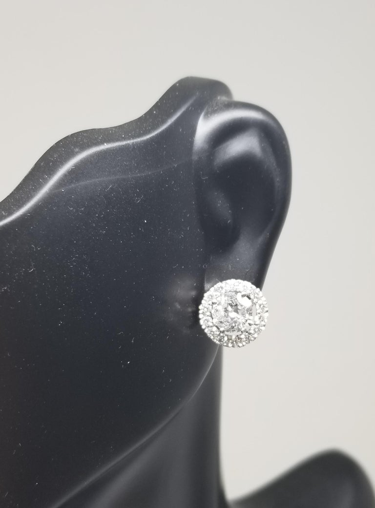 14 Karat White Gold Diamond Stud Earrings with Diamond Halo-Jackets In New Condition For Sale In Los Angeles, CA