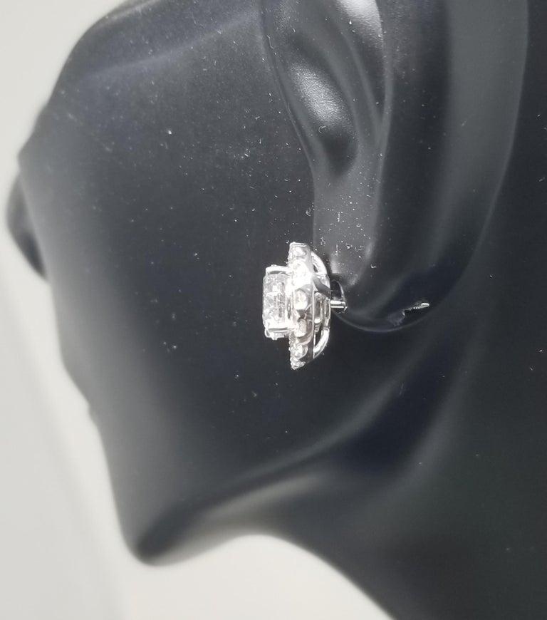 Women's or Men's 14 Karat White Gold Diamond Stud Earrings with Diamond Halo-Jackets For Sale