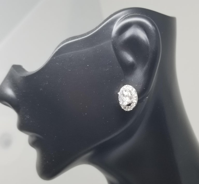 14 Karat White Gold Diamond Stud Earrings with Diamond Halo-Jackets For Sale 1