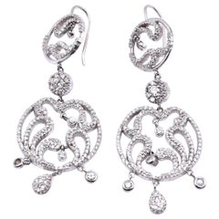 14 Karat White Gold Diamond Swirl Chandelier Style Drop Earrings