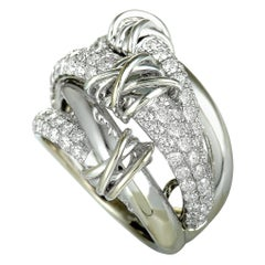 14 Karat White Gold Diamond Wide Band Ring