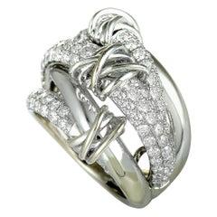 14 Karat White Gold Diamond Wide Band Ring