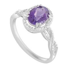 14 Karat White Gold Diamonds and Amethyst Oval Ring
