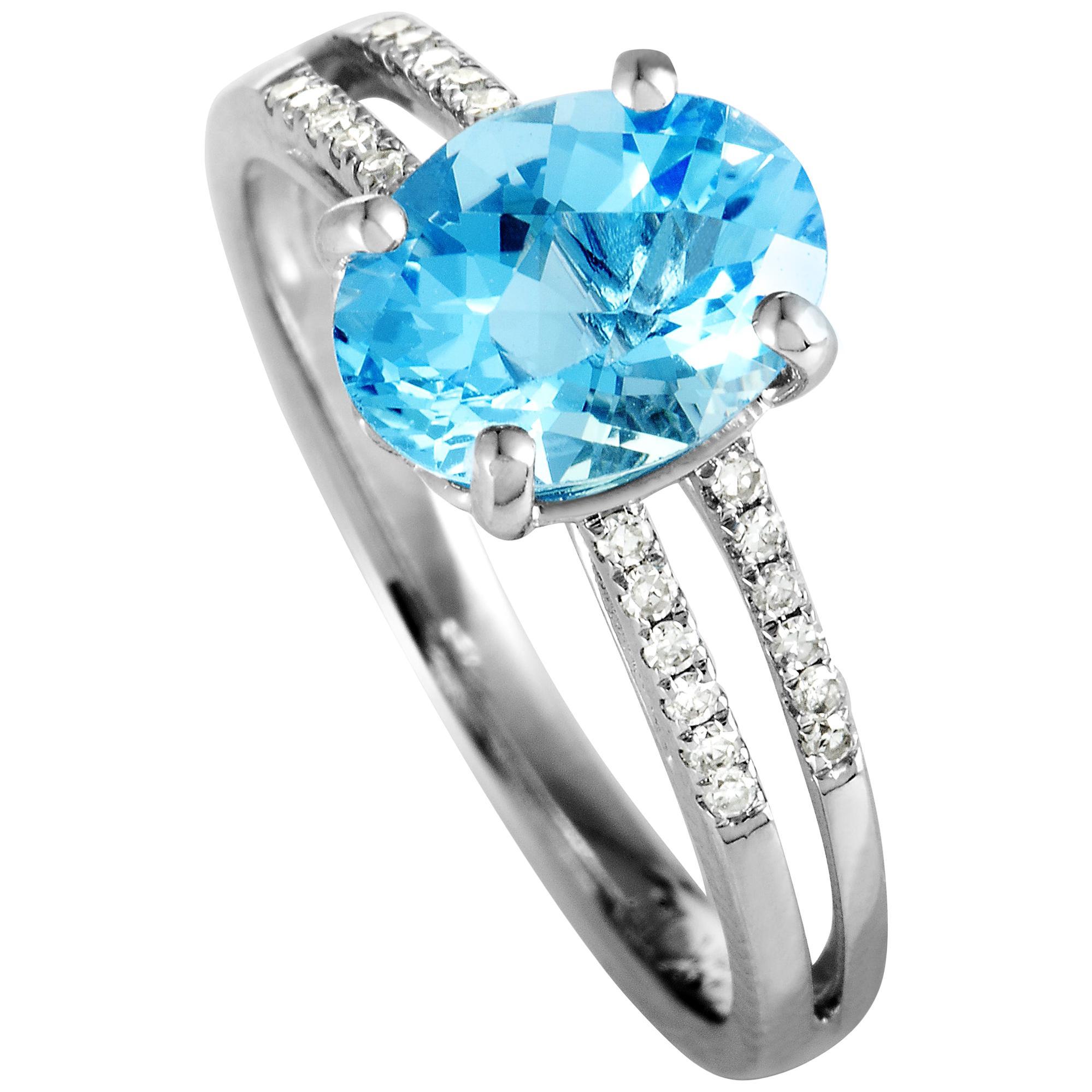 14 Karat White Gold Diamonds and Oval Topaz Ring