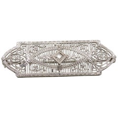 14 Karat White Gold Edwardian Diamond Pin