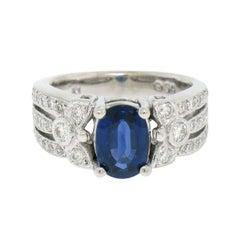 14k White Gold EGL 2.18ct Oval Royal Blue Sapphire & Diamond Engagement Ring