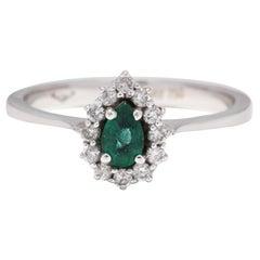 14 Karat White Gold, Emerald and Diamond Ring