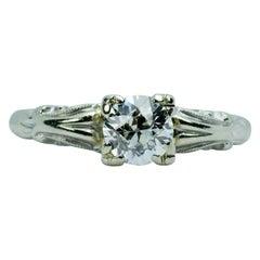 14k White Gold European Cut Diamond Solitaire .6CT Engagement Ring
