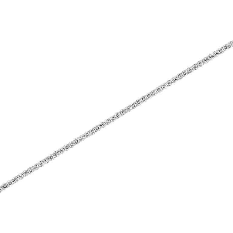 Round Cut 14k White Gold Four Prongs Diamond Tennis Bracelet '5 3/4 Ct .tw' For Sale