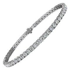 14k White Gold Four Prongs Diamond Tennis Bracelet '5 Ct . Tw'