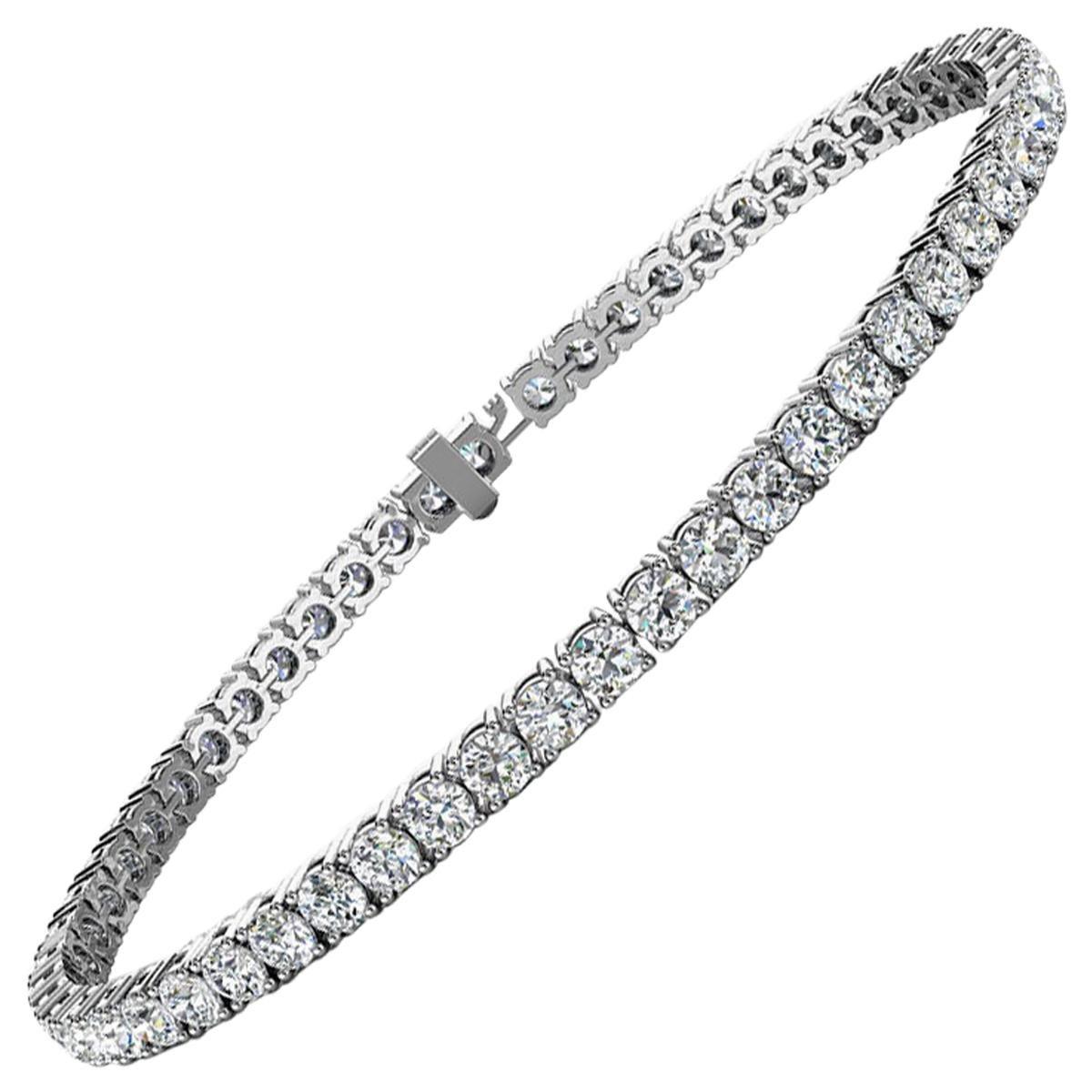 14k White Gold Four Prongs Diamond Tennis Bracelet '8 Ct. tw'