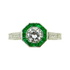 14k White Gold Genuine Natural Diamond Ring with Emerald Halo '#J5058'