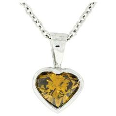 14k White Gold GIA 0.70ct Fancy Deep Brown Orange Heart Natural Diamond Pendant