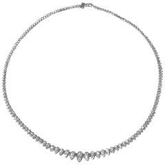 14K White Gold Graduated 202 Round 18 Carat Diamond Riviera Necklace by Manart
