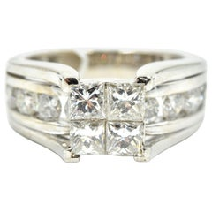 14 Karat White Gold Invisible Set 2.00 Carat Princess Cut Diamond Ring