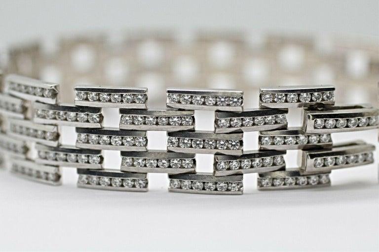 Art Deco 14 Karat Gold Maillon Panthere Diamond Bracelet 5-Row Beveled Link Bracelet For Sale