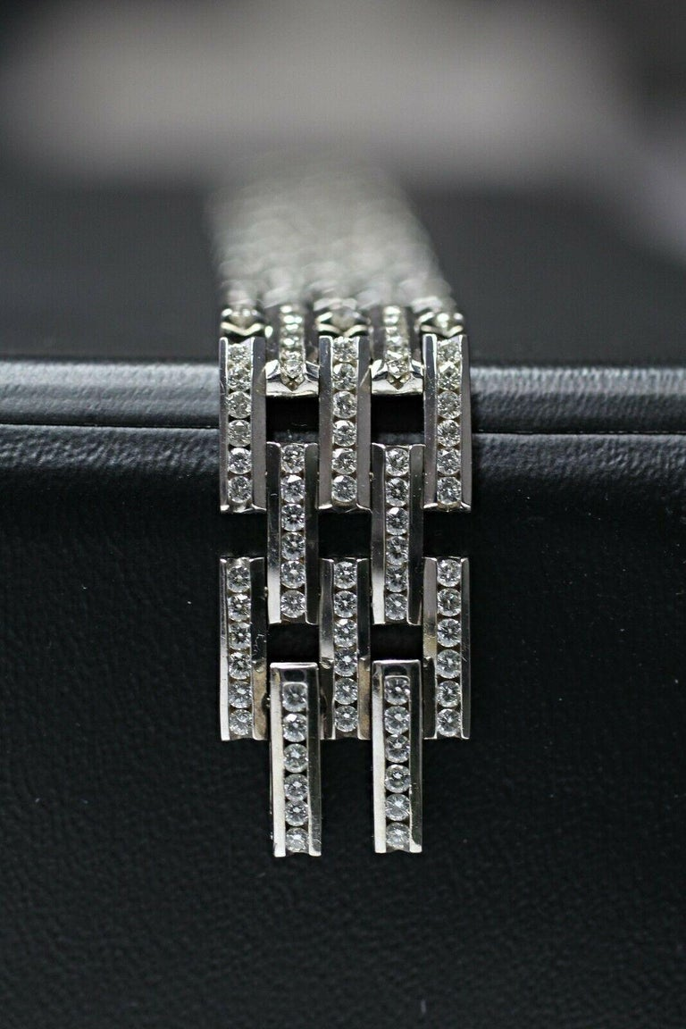 Round Cut 14 Karat Gold Maillon Panthere Diamond Bracelet 5-Row Beveled Link Bracelet For Sale